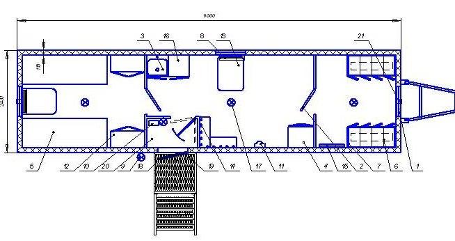 Жилой вагончик на 4 человека состоит из общей спальной комнаты с двухярусными спальными местами, тамбуром с...